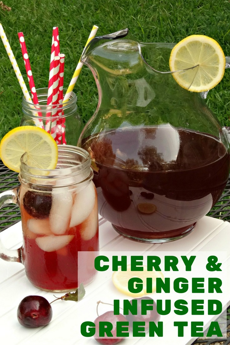 Made with copious amounts of fresh cherries, a few slivers of fresh ginger, a squeeze of fresh lemon juice, a splash of vanilla and green tea, this Cherry and Ginger Infused Green Tea is the perfect refreshing drink!
