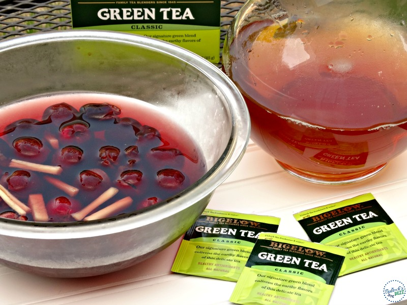Cherry and Ginger Infused Green Tea filter cherry water then add to tea