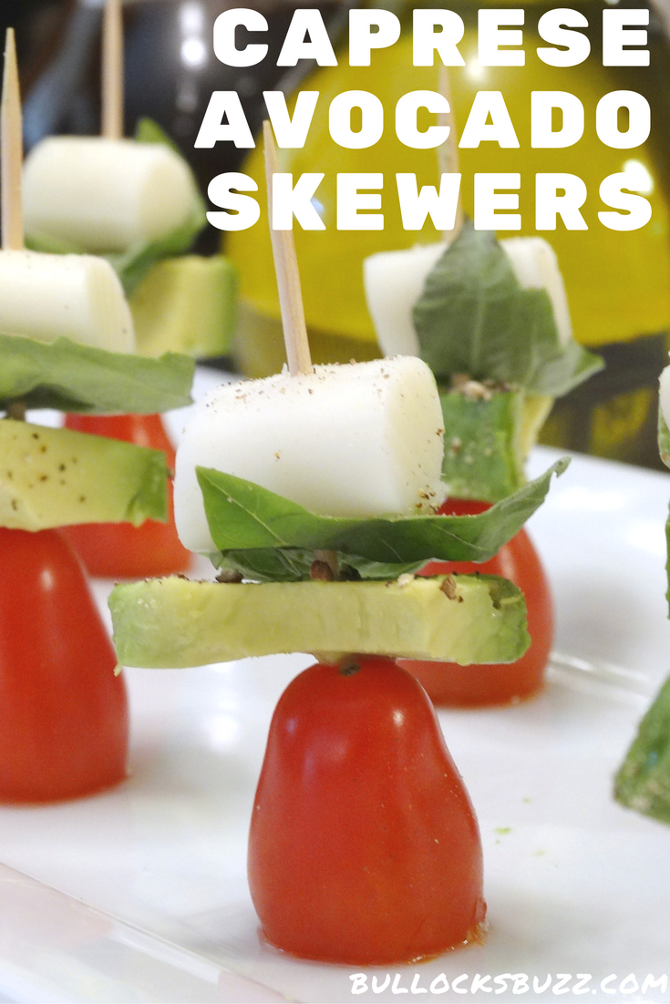 Caprese Avocado Skewers recipe a light and healthy snack that's easy to make! Click thru for the recipe!