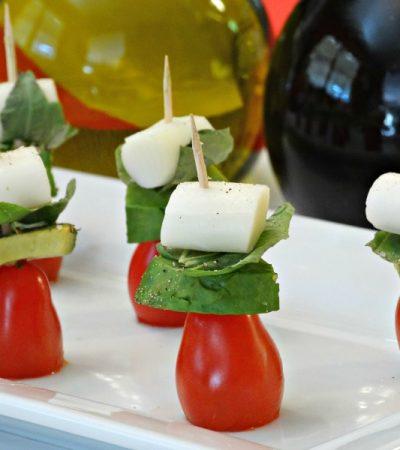 Healthy Snack Ideas for Parties + Caprese Avocado Skewers Recipe