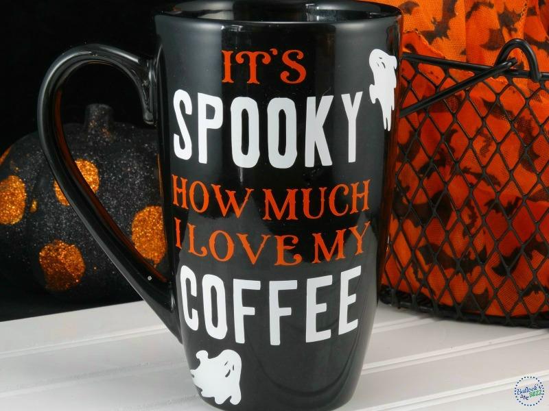 front of DIY Halloween coffee mug