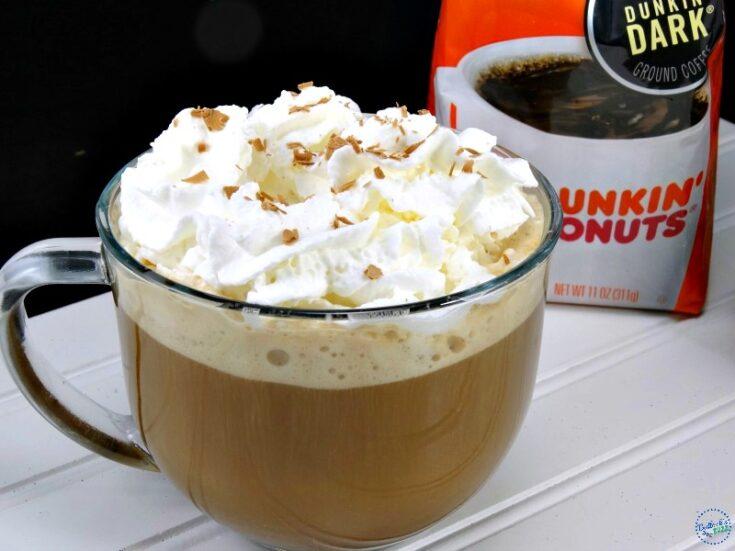 hazelnut mocha coffee recipe in mug topped with whipped cream