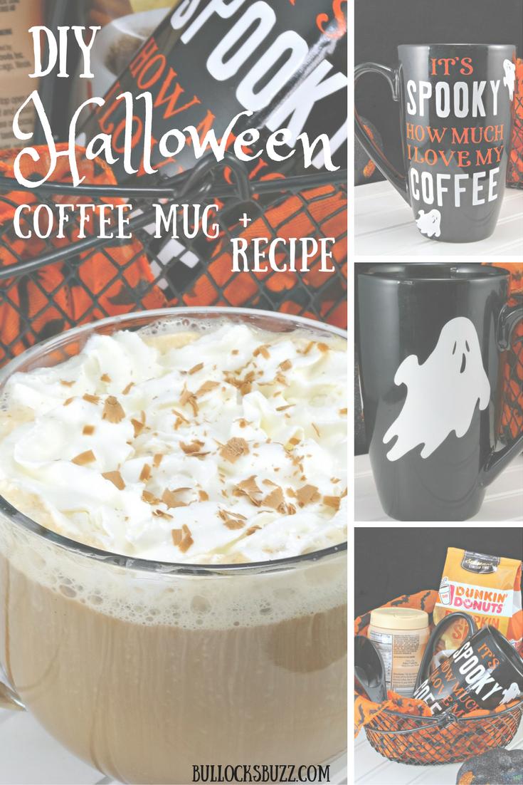 Spice up Halloween with this fun DIY Halloween coffee mug and a delicious Hazelnut Mocha Delight coffee recipe!