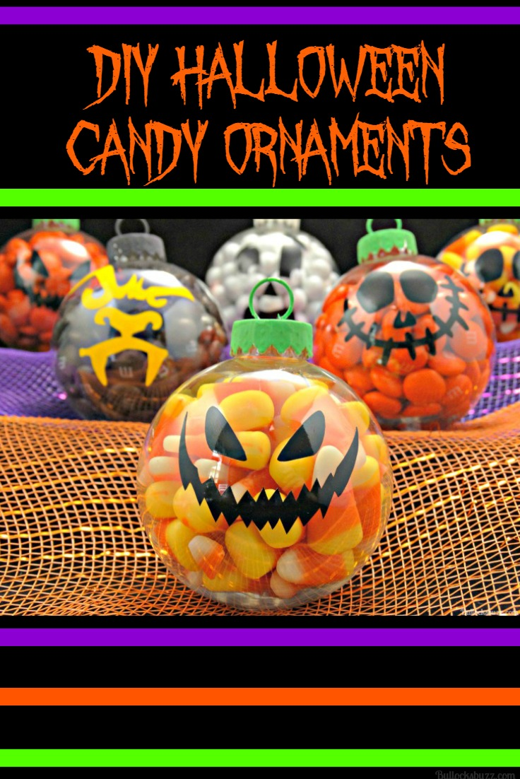 A great pairing for the Halloween treat bag toppers are these Halloween Candy Filled Ornaments!