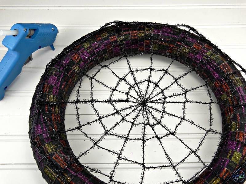 diy-halloween-wreath-hot-glue-spider-web-on-back-side-of-wreath