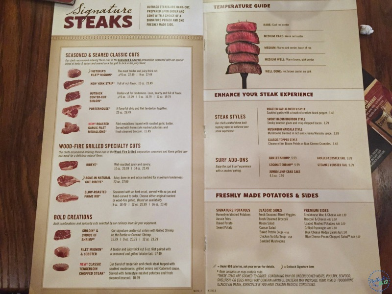 picture regarding Outback Printable Menu identified as Day Evening at Outback Steakhouse - 4 Motives towards Dine Out at