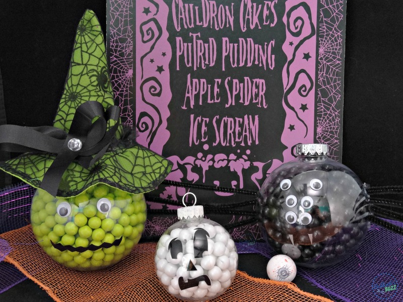 Three spook-tacular Halloween treats made of candy filled ornaments that are easy-to-make and look great as party decor. The best part? You can eat them, too! #Halloween #candy