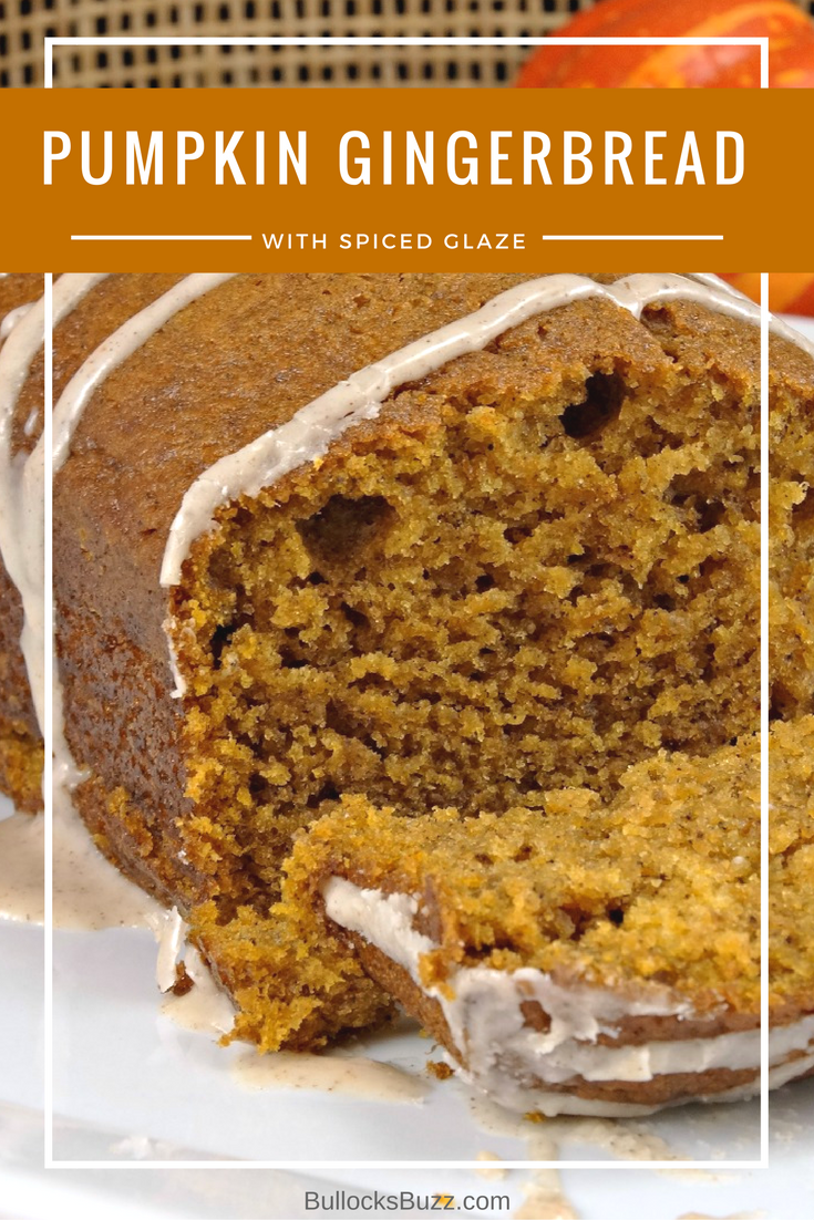 Pumpkin Gingerbread with Spiced Glaze - Fall Baking