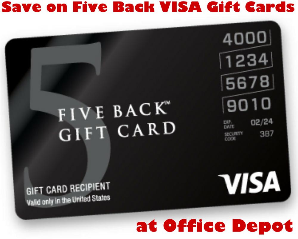 Save on Five Back Visa Gift Cards at Office Depot #OD10Back