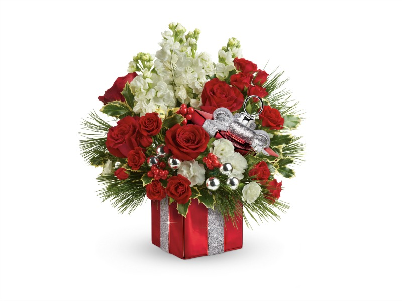 Christmas Floral Arrangements - Teleflora gift wrapped bouquet