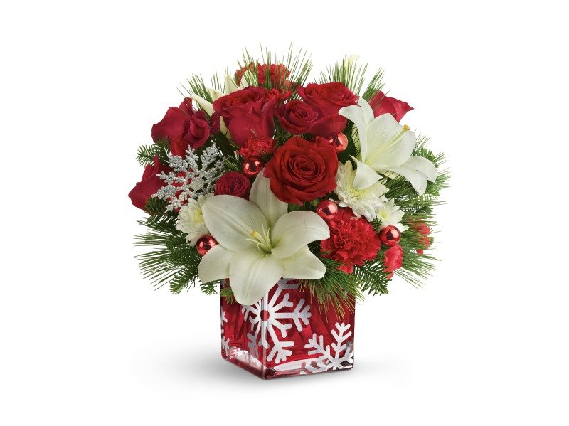 Christmas Floral Arrangements - Teleflora silver christmas bouquet