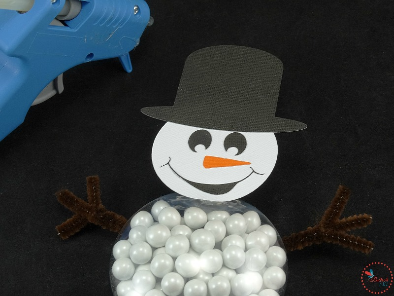 DIY Christmas Snowman treats glue on arms