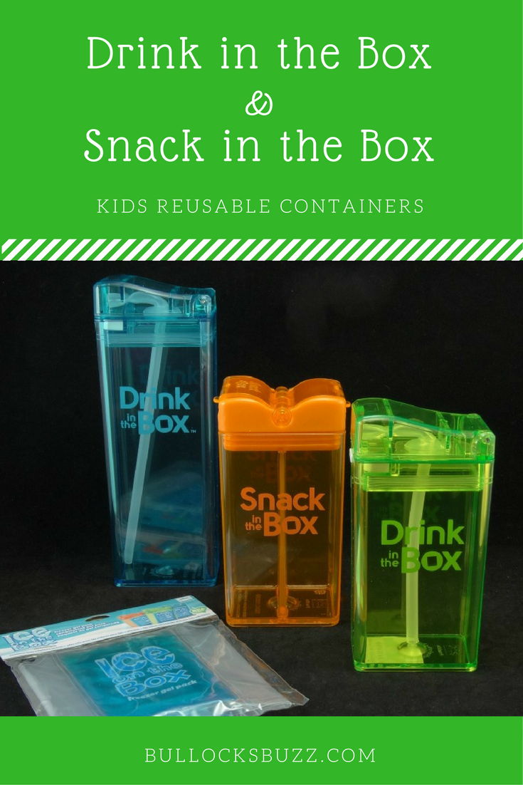 Durable and reusable snack containers for kids - Drink in the Box and Snack in the Box