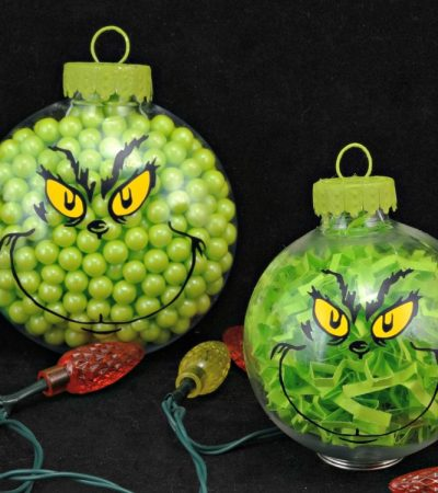 Two DIY Grinch Christmas Ornaments