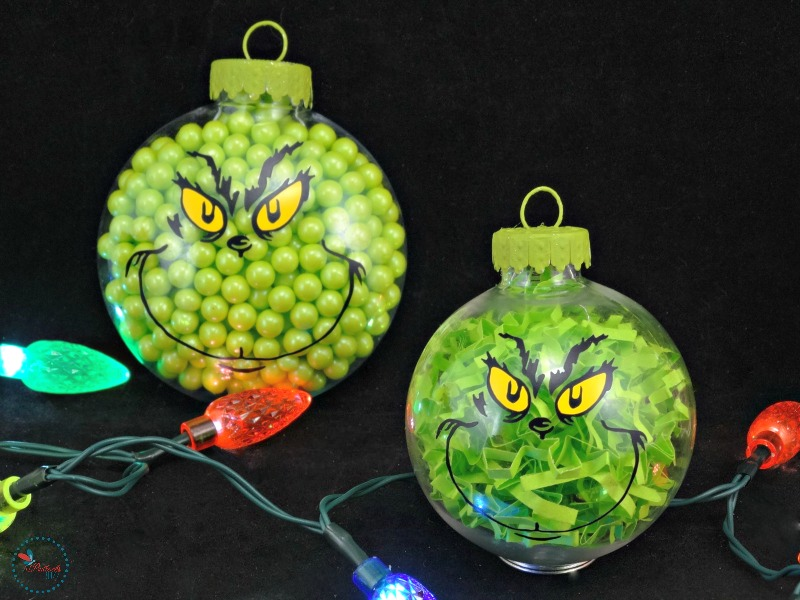 diy grinch christmas ornaments finished