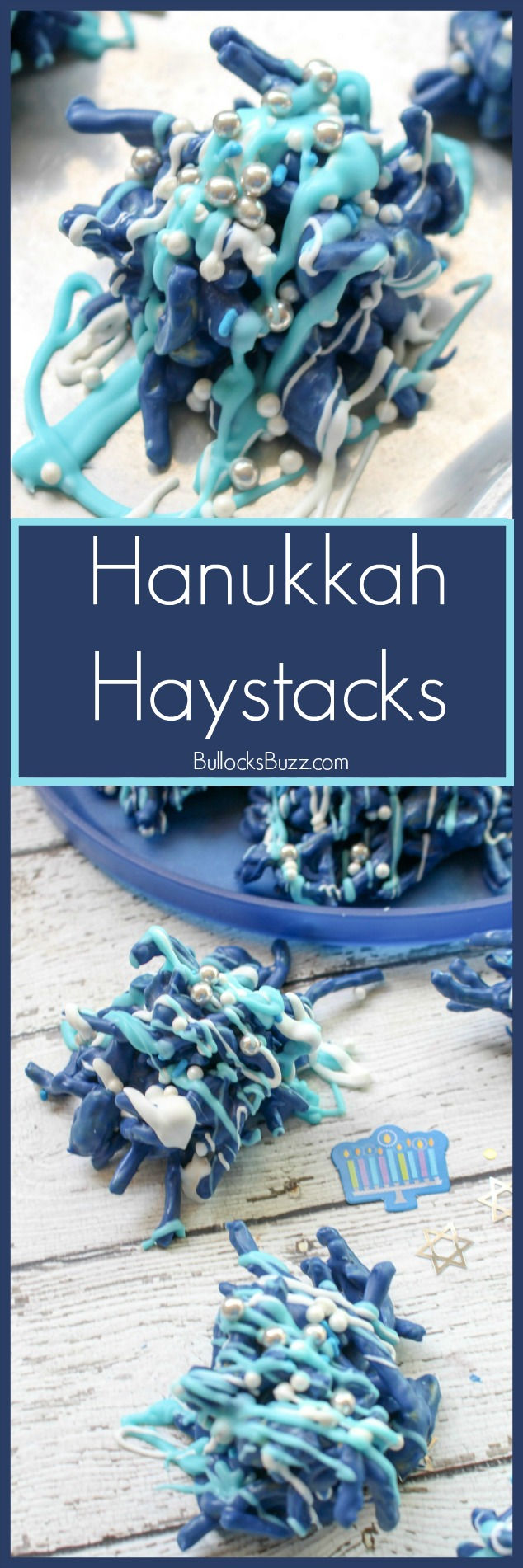 The perfect mix of salty and sweet, this no bake Hanukkah Haystacks recipe is made with chow mein noodles and cocktail peanuts coated with melted chocolate.
