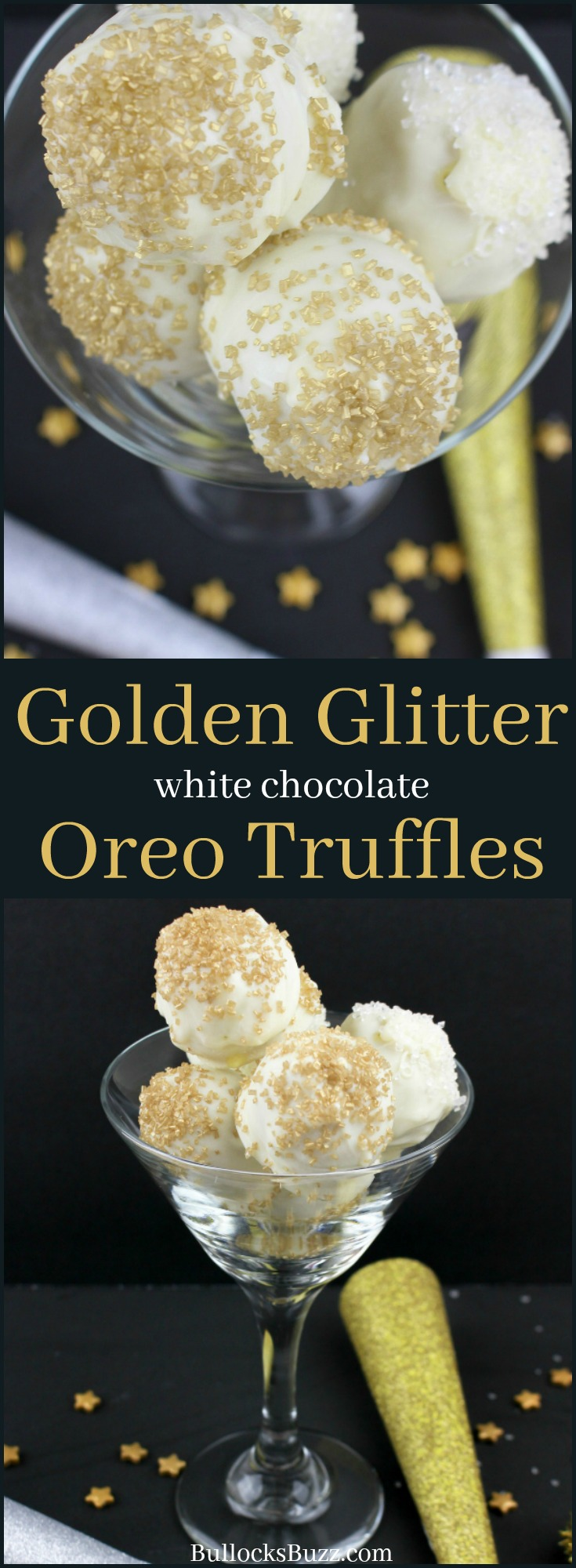 These Golden Glitter White Chocolate Oreo Truffles are delicious, easy to make, and shimmer like the Times Square Ball!
