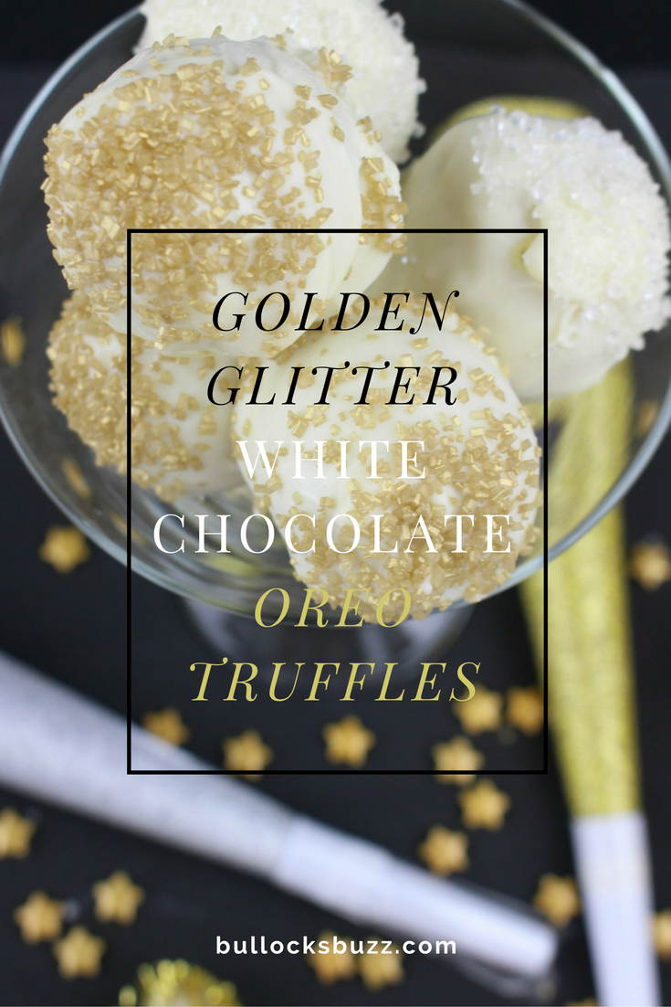 Bring in the New Year with these bite-sized beauties that shimmer like the Times Square Ball! These Golden Glitter White Chocolate Oreo Truffles are delicious, quick and easy to make!