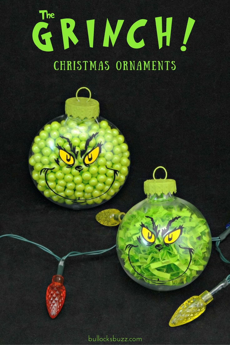 Two DIY Grinch Christmas ornaments in post for DIY Christmas Snowman Treats