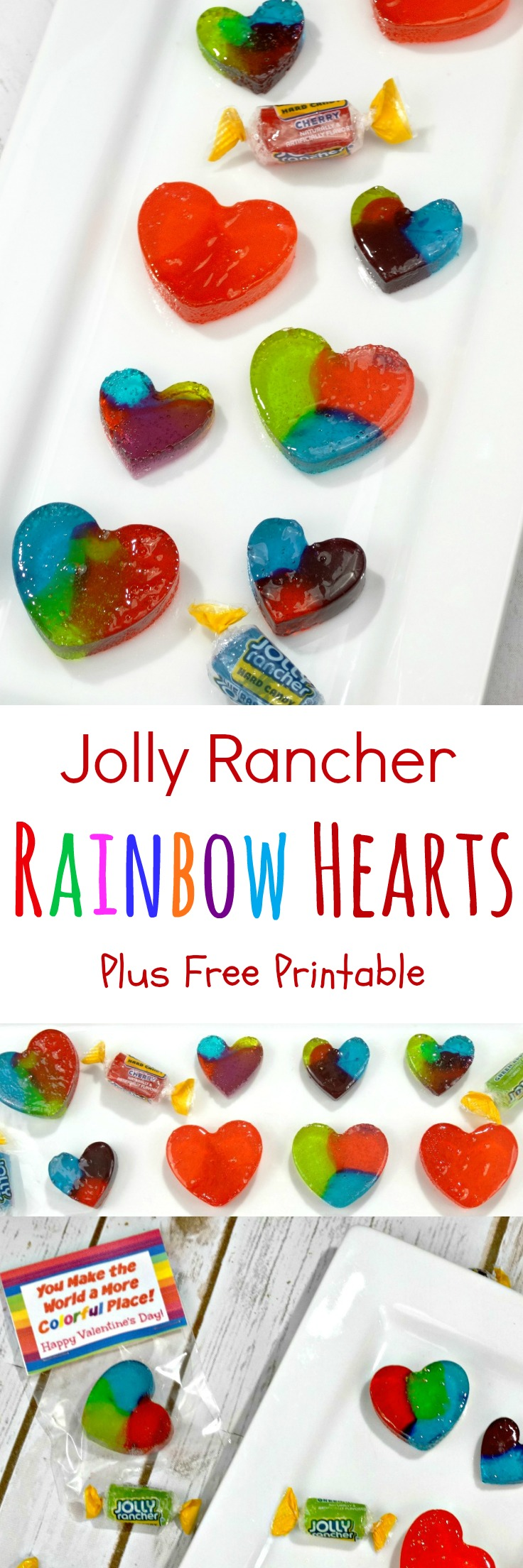 Paired with my free printable Valentine's Day Treat Bag Topper, these Jolly Rancher Homemade Rainbow Hearts Candy make for an adorable Valentine! #ValentinesDay #recipes #homemadecandy #DIYcandy