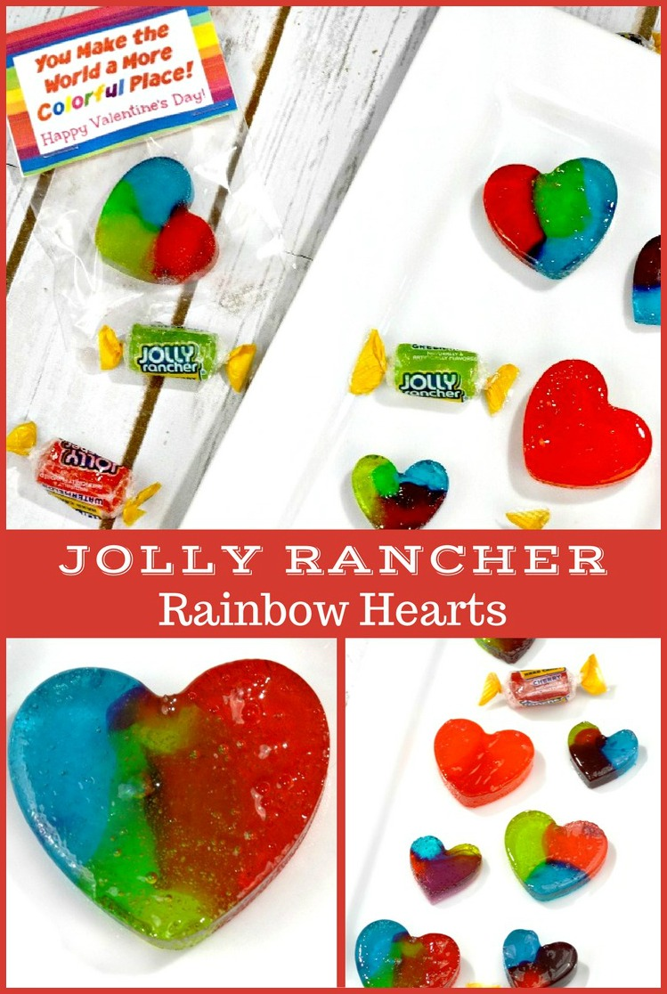 Make Valentine's Day even sweeter with these delicious and pretty homemade Jolly Rancher Rainbow Hearts! Plus, a free printable Valentines treat bag topper!