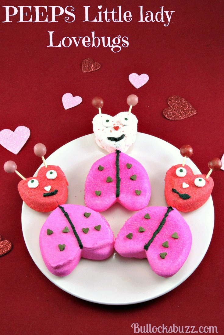 Valentine's Day PEEPS Lady Lovebugs are made from everyone's favorite marshmallow treat, PEEPS! A quick and easy, last-minute Valentine's Day treat!