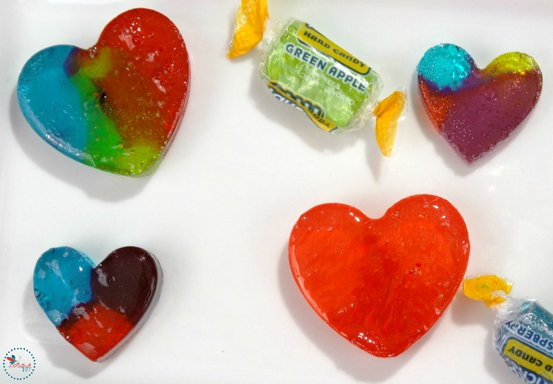 homemade Rainbow Hearts Candy finished