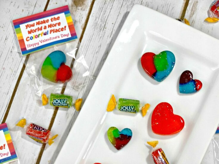 Homemade Jolly Rancher Rainbow Hearts - Perfect for Valentine's Day!