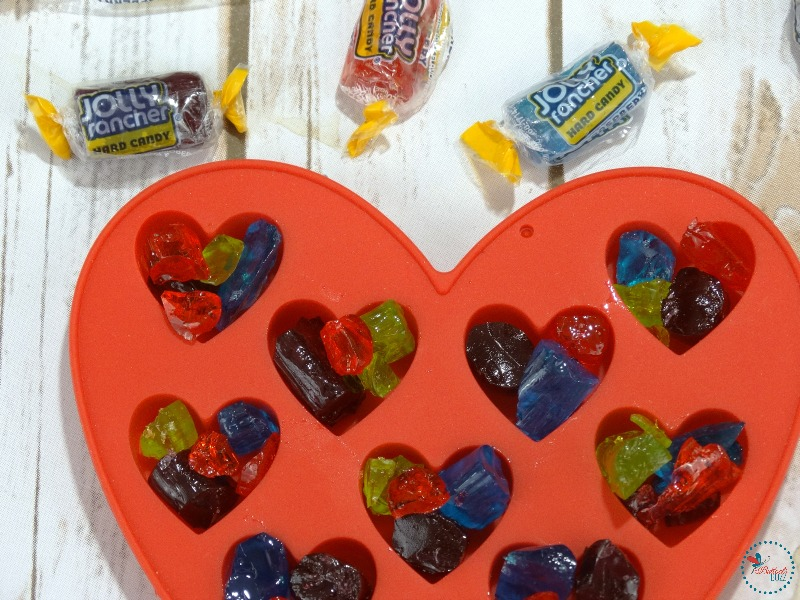 Jolly Rancher Rainbow Hearts break up candy if using a small mold
