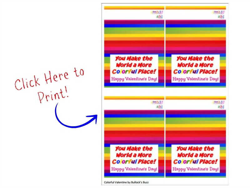 Jolly Rancher Rainbow Hearts free printable treat bag topper for cute Valentine
