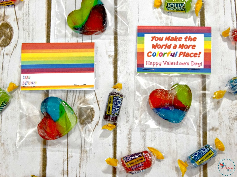 Jolly Rancher Rainbow Hearts treat bag toppers both sides