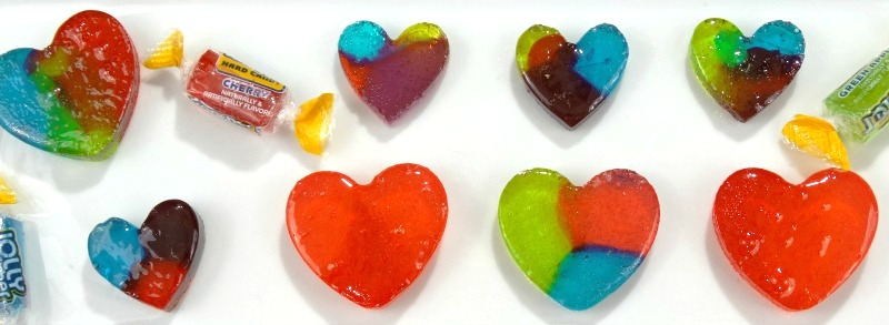 Jolly Rancher Rainbow Hearts candies in both sizes