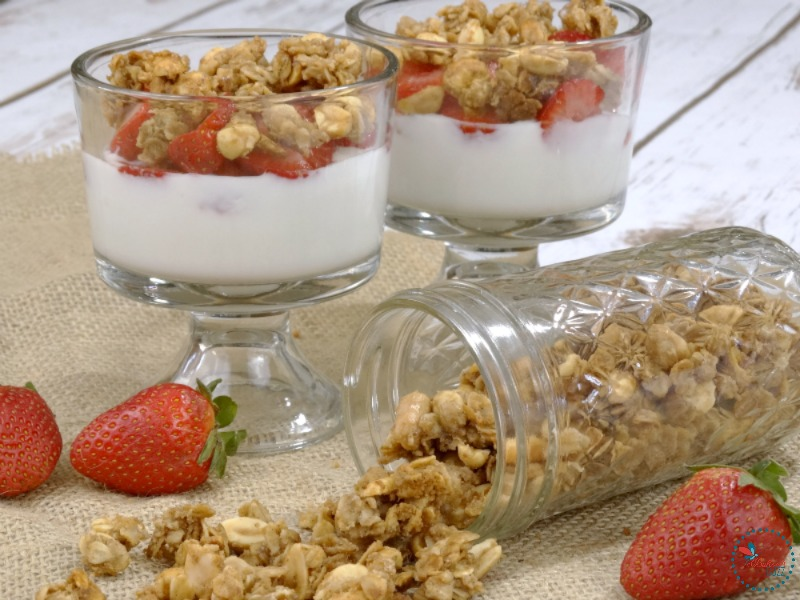 Peanut Butter and Jelly Granola in parfaits