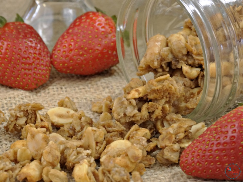 Peanut Butter and Jelly Granola with strawberries