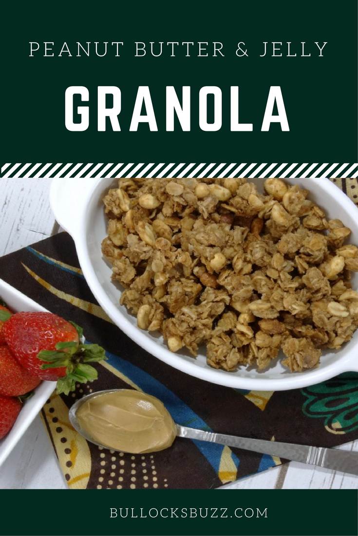 Rich and creamy peanut butter is swirled with strawberry jam, old-fashioned oats and honey roasted peanuts for a deliciously healthy, crunchy snack - Peanut Butter and Jelly Granola!