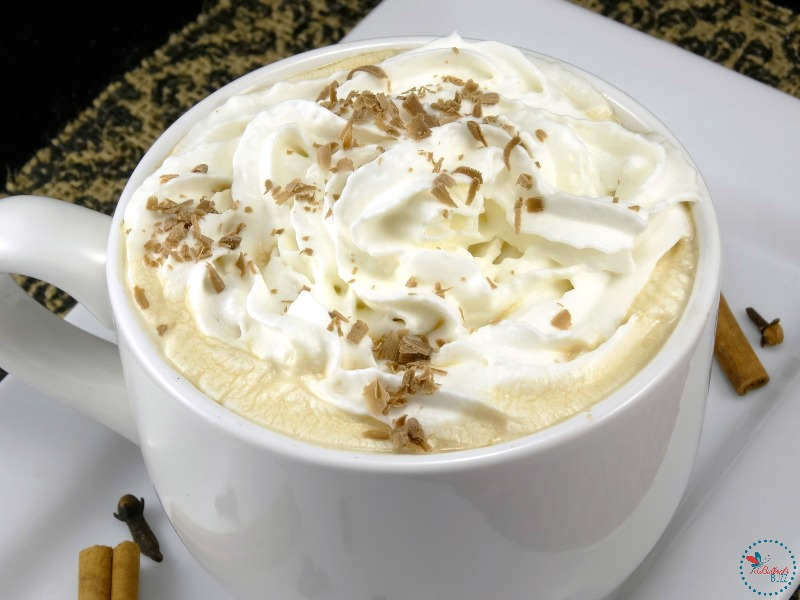 winter spiced coffee with whipped cream and chocolate shavings