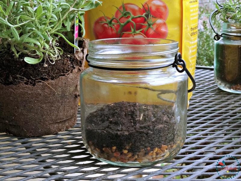 DIY Indoor Hanging Herb Garden add potting soil