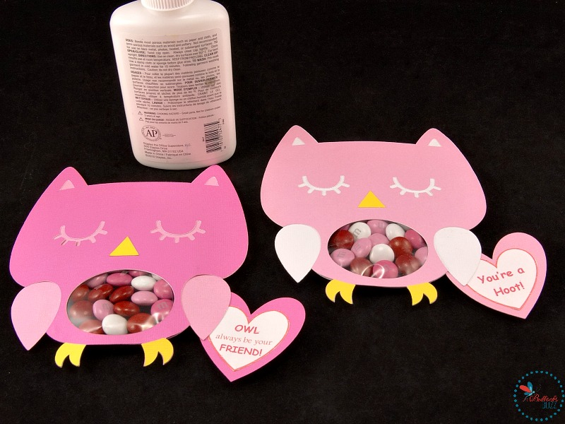 Owl Valentines Candy Cards glue message hearts under the wing