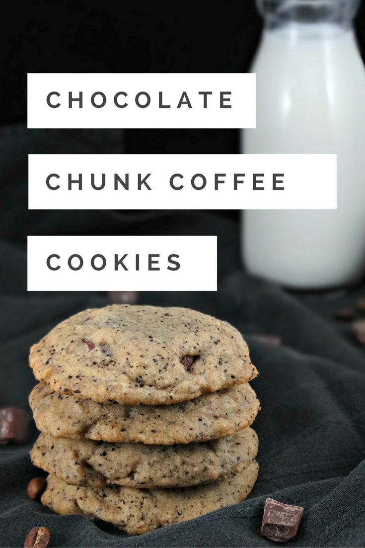 Rich coffee flavor is offset by the creamy sweetness of dark chocolate chunks in these soft and chewy Chocolate Chunk Coffee Cookies.