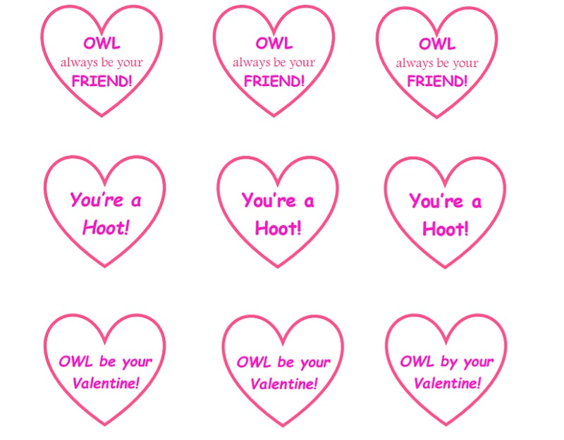 Owl Valentines Candy Cards Message Hearts Free Printable Message Hearts