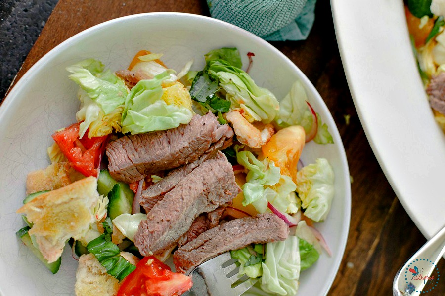 Steak and Heirloom Tomato Panzanella serve and enjoy