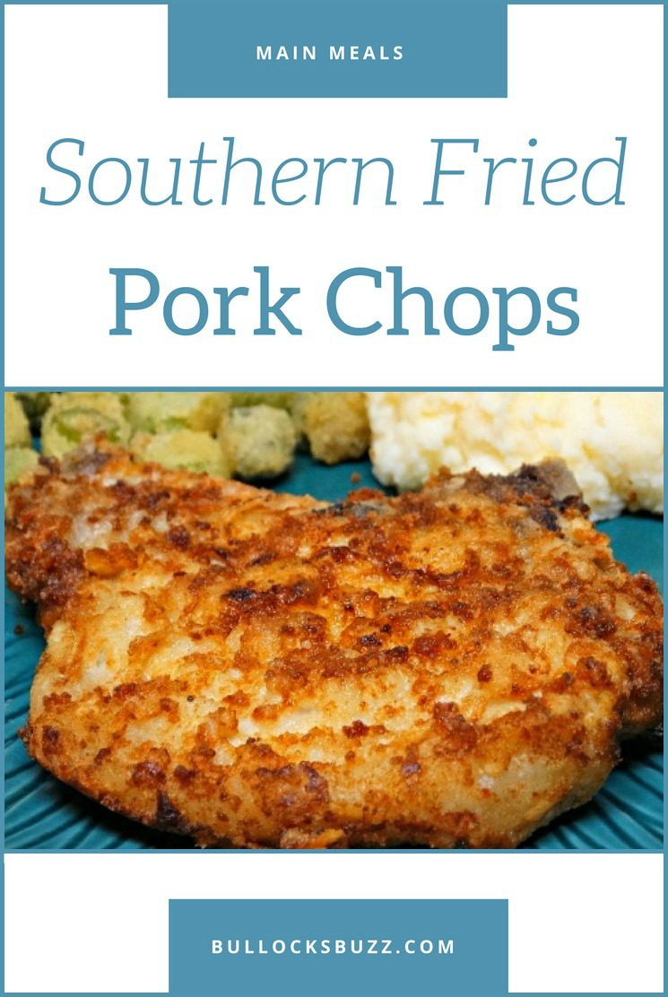A true Southern classic, these delicious fried pork chops have a crispy, golden brown seasoned crust on the outside, and a tender and juicy inside. #porkchops #recipe #Southern
