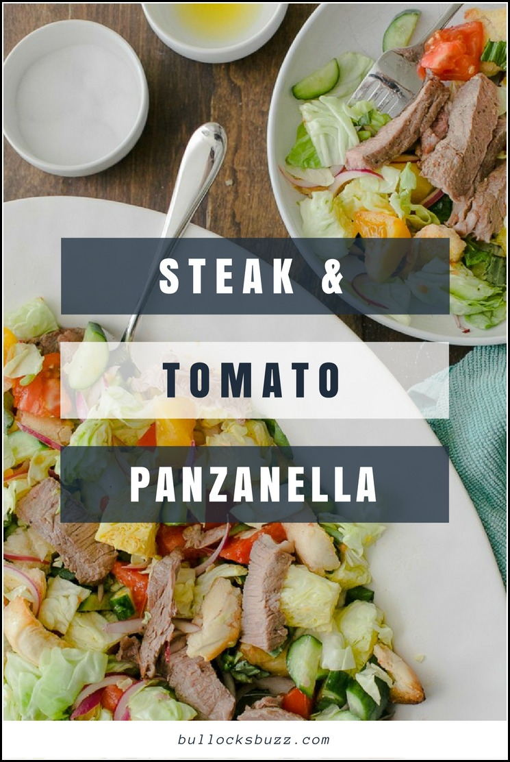 Chunks of bread and heirloom tomatoes soak in a zesty dressing, while tender grilled steak adds a delicious twist to this classic Italian salad, Panzanella.