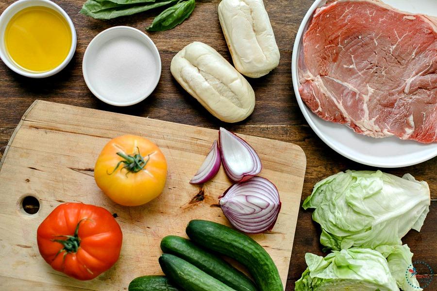 Steak and Heirloom Tomato Panzanella fresh ingredients
