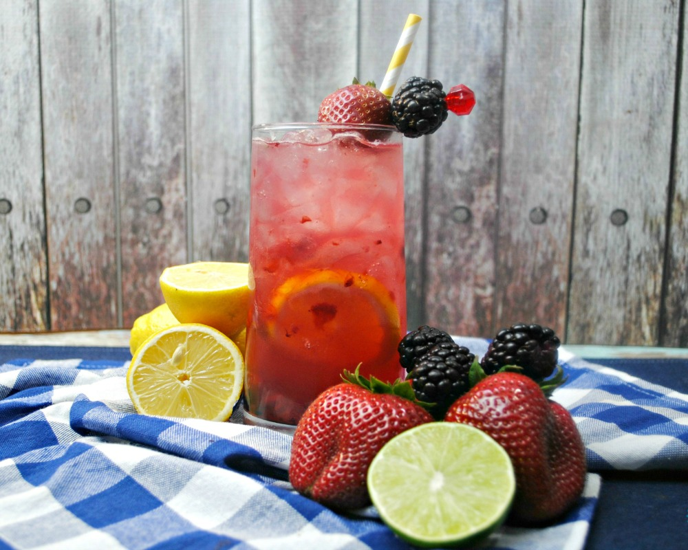 Berry Smash Lemonade cocktail made with real berries