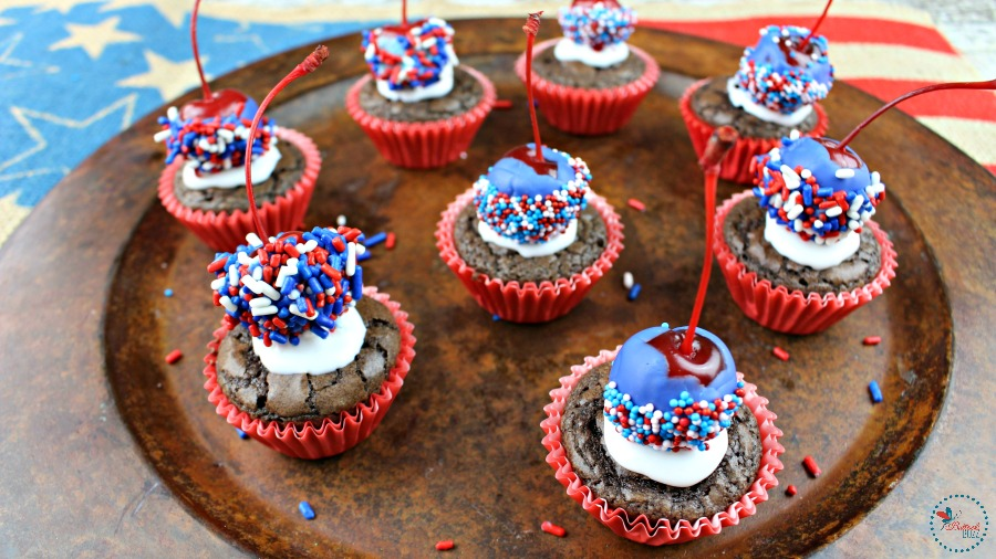 patriotic brownie bombs serve on decorative plate