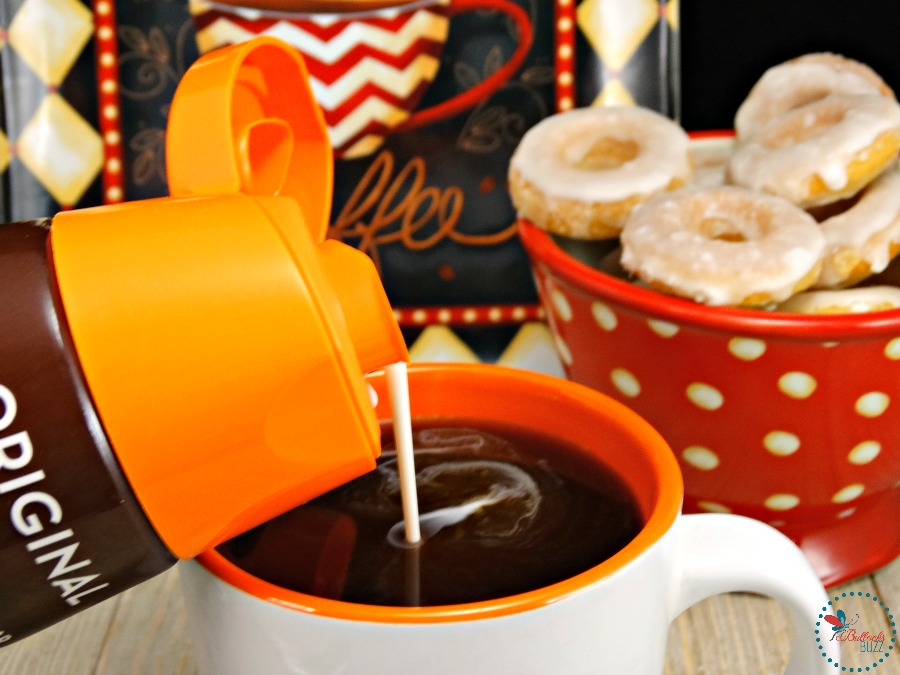 Mini Baked Donuts with Caramel Glaze Dunkin' Donuts Coffee Creamer in coffee or to cook with