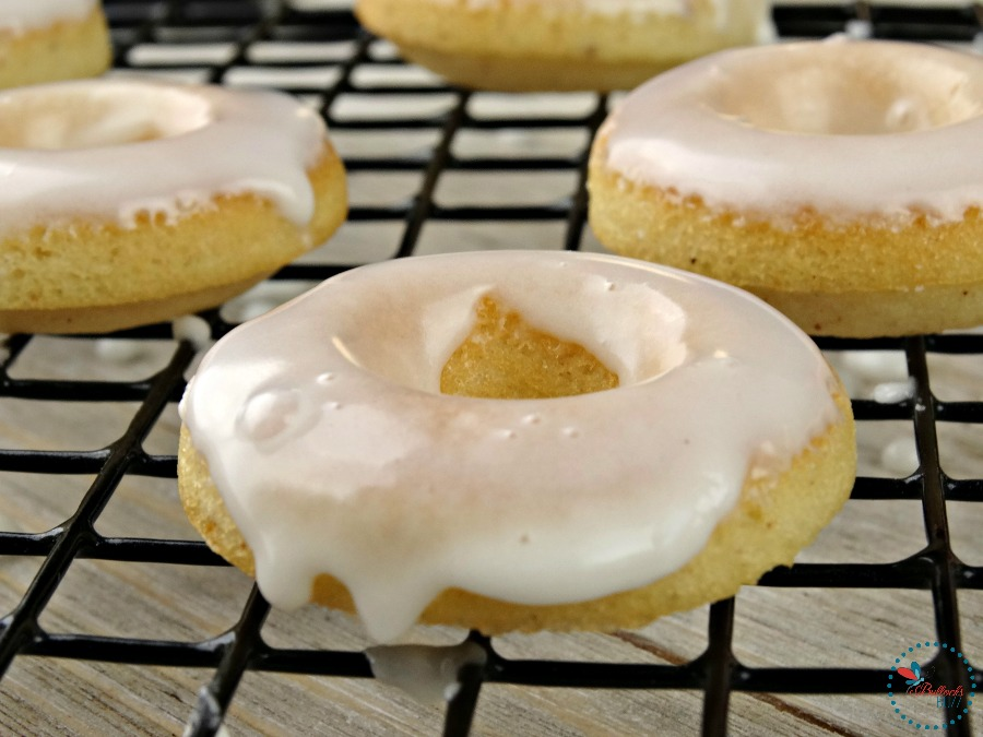 Mini Baked Donuts with Caramel Glaze place on rack to cool