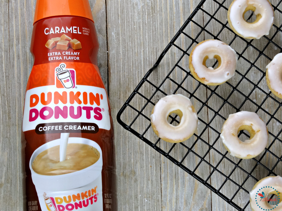Mini Baked Donuts with Caramel Glaze made with Dunkin' Donuts Caramel creamer