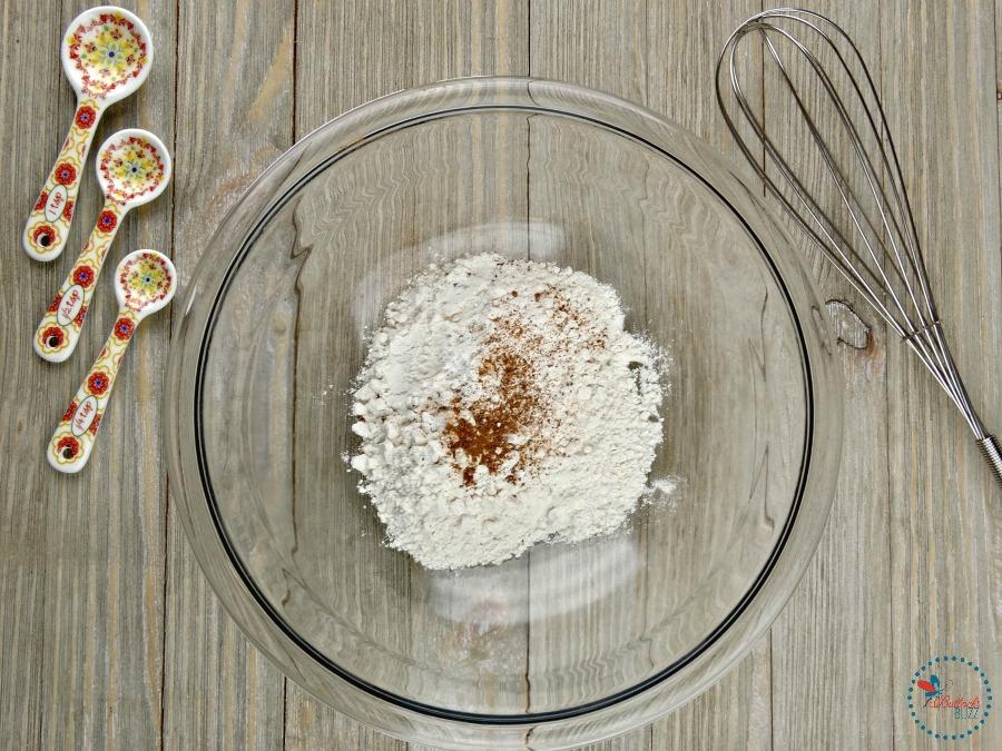 Mini Baked Donuts with Caramel Glaze combine flour, salt and nutmeg